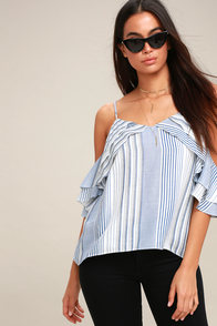 Clemence Blue And White Striped Off-the-Shoulder Top at Lulus.com!