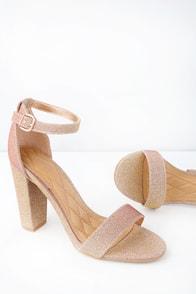 Kyra Rose Gold Glitter Ankle Strap Heels