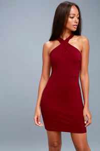 Thrive Wine Red Sleeveless Bodycon Dress