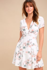 Flor-Ever White Floral Print Skater Dress