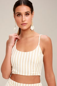 Destination Tan Striped Crop Top at Lulus.com!