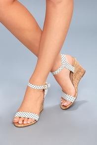 Whitney Black and White Polka Dot Wedge Sandals