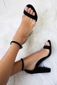 Taylor Black Suede Ankle Strap Heels