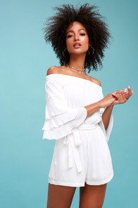 Santa Ana White Off-the-Shoulder Flounce Sleeve Romper at Lulus.com!
