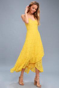Saunter Along Yellow Lace Midi Dress