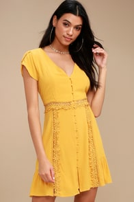 Wistful Wanderer Mustard Yellow Crochet Lace Dress at Lulus.com!