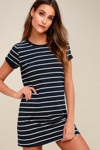 Cafe Society Navy Blue Striped Shirt Dress