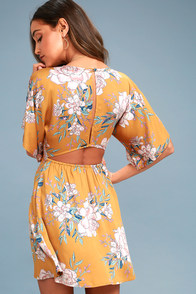 Golden Light Golden Yellow Floral Print Dress at Lulus.com!
