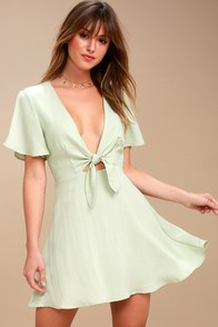 Sea Day Sage Green Skater Dress at Lulus.com!