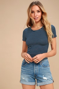 Limitless is More Navy Blue Striped Cropped Tee