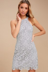 Love Poem Light Grey Lace Dress at Lulus.com!