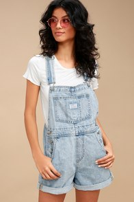Vintage Shortall Light Wash Denim Overalls at Lulus.com!