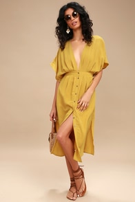 Poppy Mustard Yellow Button-Up Midi Dress