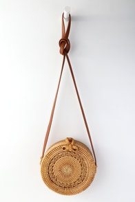 Port Costa Tan Round Woven Purse at Lulus.com!