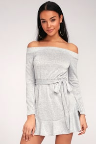 Tell Me You Love Me Heather Grey Off-the-Shoulder Dress at Lulus.com!