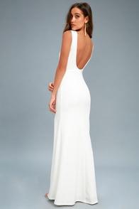 Cherish You White Backless Maxi Dress