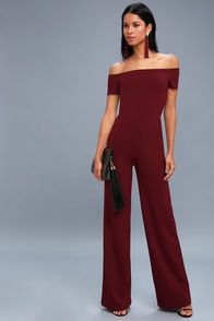 Alleyoop Burgundy Off-the-Shoulder Jumpsuit at Lulus.com!