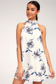 Darling Dearest White Floral Print Swing Dress at Lulus.com!