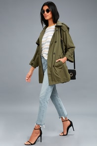 Jia Olive Green Hooded Jacket at Lulus.com!