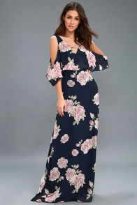 The Very Thought Of You Navy Blue Floral Print Maxi Dress at Lulus.com!
