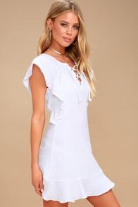 Fia White Lace-Up Mini Dress at Lulus.com!