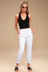 Tuscany Black and White Striped Pants