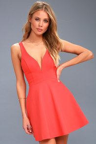 Love Galore Coral Red Skater Dress at Lulus.com!