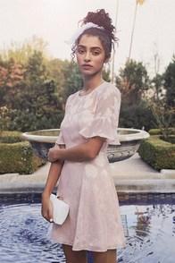 Luminous Love Mauve Pink Shell Print Flounce Sleeve Dress