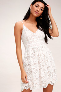 Wish Me Luxe White Lace Skater Dress