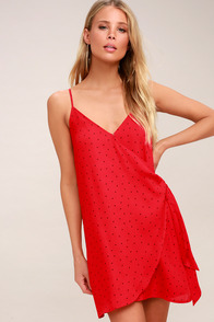 Dots Going On? Red Polka Dot Wrap Dress