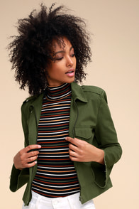 Jennie Olive Green Cropped Jacket at Lulus.com!