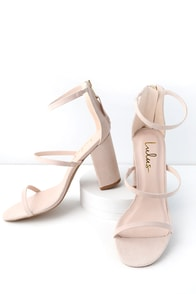 Candice Nude Suede Ankle Strap Heels