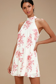 Darling Dearest Blush Pink And White Floral Print Swing Dress at Lulus.com!