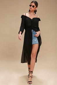 Astoria Black Sheer Off-the-Shoulder Maxi Top at Lulus.com!