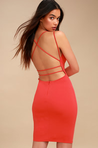 Be-All Trend-All Backless Coral Red Midi Dress at Lulus.com!