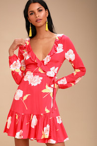 Ruff Girls Club Coral Red Floral Print Wrap Dress at Lulus.com!
