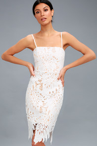 Resplendence White Lace Bodycon Midi Dress at Lulus.com!