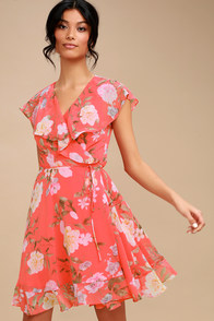 Meet Me In The Garden Coral Pink Floral Print Wrap Dress at Lulus.com!