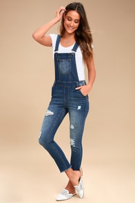 Marcy Medium Wash Distressed Denim Overalls at Lulus.com!