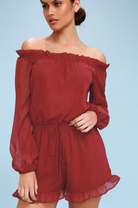 How's It Growing? Wine Red Off-the-Shoulder Romper