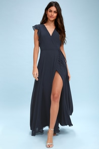 Crescendo Navy Blue Wrap Maxi Dress at Lulus.com!