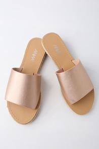 Marnie Rose Gold Espadrille Slide Sandals at Lulus.com!
