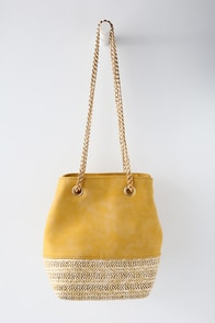 Frutta Mustard Yellow Suede Bucket Bag