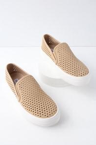 Gal Camel Perforated Slip-On Flatform Sneakers