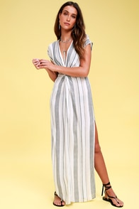 Coastal Grooves White Multi Striped Swim Cover-Up at Lulus.com!
