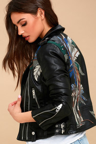 Island Fever Black Embroidered Vegan Leather Moto Jacket at Lulus.com!