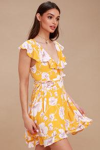 French Quarter Yellow Floral Print Wrap Dress