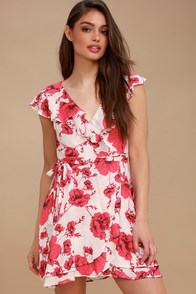 French Quarter Ivory Floral Print Wrap Dress at Lulus.com!