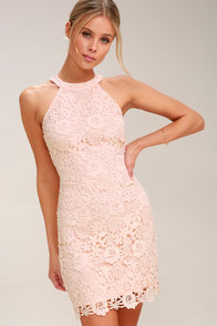 Love Poem Blush Pink Lace Dress at Lulus.com!