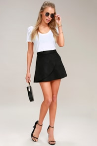 Wrap to It Black Suede Wrap Skirt